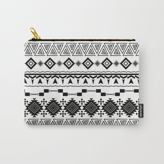 Aztec black white pattern. Carry-All Pouch