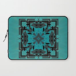 Turquoise Ornate Abstract Design Laptop Sleeve
