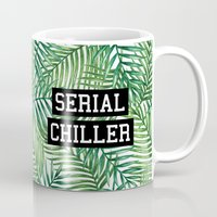 tupac Mugs featuring Serial Chiller by Text Guy