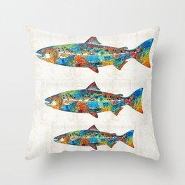 Fish Art Print - Colorful Salmon - By Sharon Cummings Throw Pillow