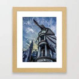 Gringotts Bank from Diagon Alley in Hogwarts  Framed Art Print