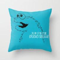 sesame street Throw Pillows featuring Studio Sesame by le.duc