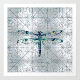 Gemstone Dragonfly on sacred geometry pattern Art Print