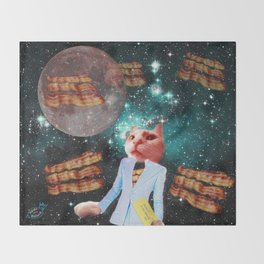 Ticket to the Moon Full of Bacon Throw Blanket