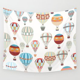 Adventure illustration pattern with air balloons in vintage hipster style Wall Tapestry