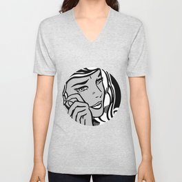 Crying-Girl02 B&W Unisex V-Neck