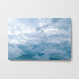 Blue and cloudy stormy sky full of birds | The azure heaven | Nature photography Metal Print