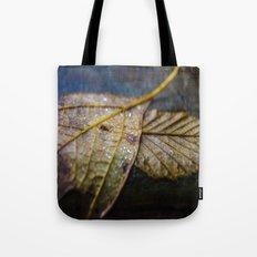 Water on a fall leaf  Tote Bag