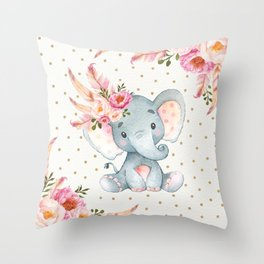 Boho Floral Elephant - Pink & Faux Gold Throw Pillow
