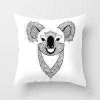koala Throw Pillows featuring Koala by Art & Be