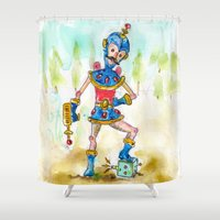allyson johnson Shower Curtains featuring Slappy Johnson, Intergalactic Space Jerk.  by Taylor Winder