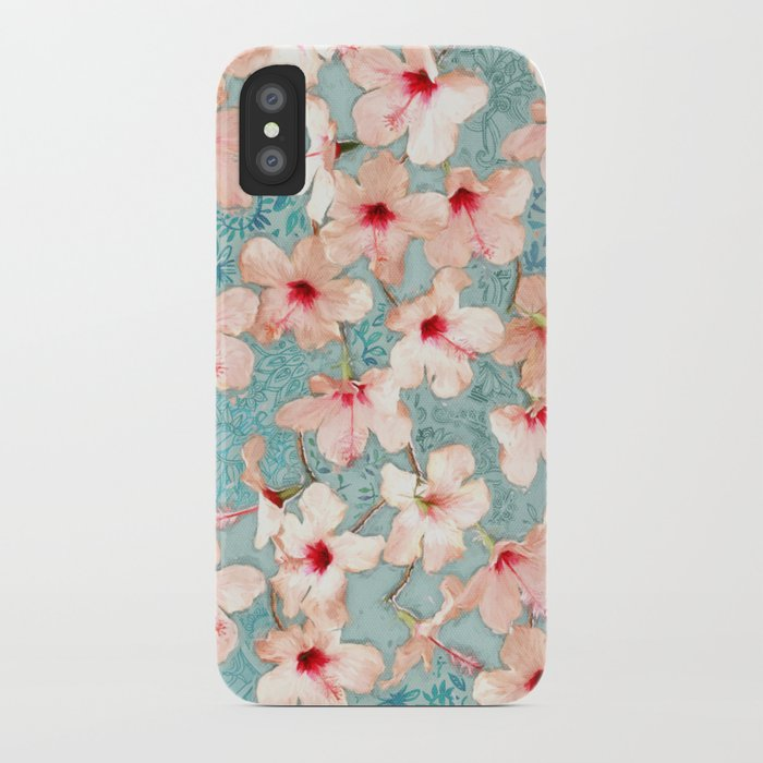Shabby Chic Hibiscus Patchwork Pattern in Peach & Mint iPhone Case