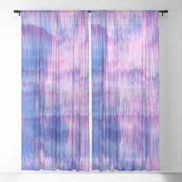 Modern Abstract Electric Blue Pink Watercolor Ikat Sheer Curtain