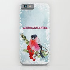 Winter Wondertime - Merry christmas- Little finch on branch-covered with snow iPhone 6s Slim Case