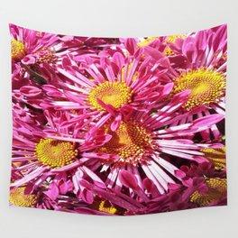 Pink Starburst Flowers Wall Tapestry