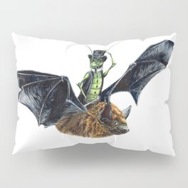 """ Rider in the Night "" happy cricket rides his pet bat Pillow Sham"