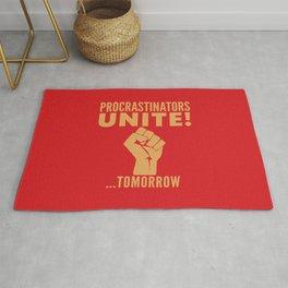 Procrastinators Unite Tomorrow (Red) Rug