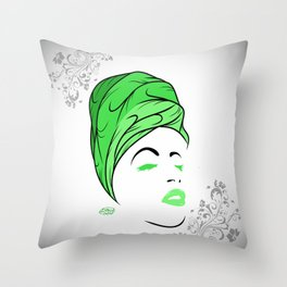 Lady Wrap (green) Throw Pillow