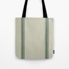Vintage Country French Grainsack Green Stripes Linen Color Background Tote Bag