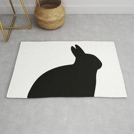 Black Rabbit Silhouette | Black Bunny Rug