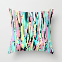 the strokes Throw Pillows featuring Abstract Strokes by Jenna Davis Designs