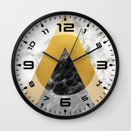 Gold foil white black marble #2 Wall Clock