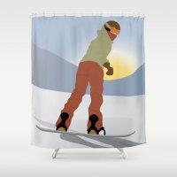 snowboard Shower Curtains featuring Snowboard Illustration by Nikki Gagliardo