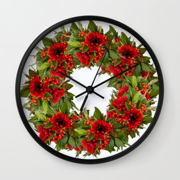 Red And Green Wreath On A White Background - Arrangement Of Flowers And Berries #decor #society6 Wall Clock