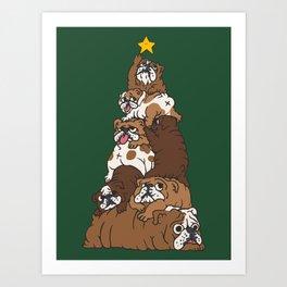 Christmas Tree English Bulldog Art Print