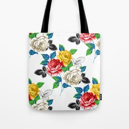 Painted Floral Tote Bag