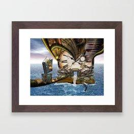Steampunk Ocean Dragon Library Framed Art Print