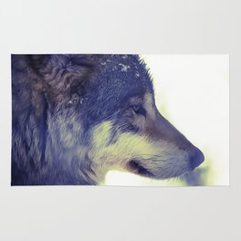 Oil Painting wolf Rug