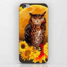 NIGHT OWL MOON SUNFLOWER ART iPhone Skin