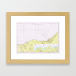 Vintage Lake Erie Coast Map (1965) Framed Art Print