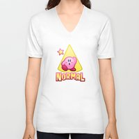 kirby V-neck T-shirts featuring Kirby Normal by likelikes