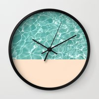 pool Wall Clocks featuring Pool by Grace