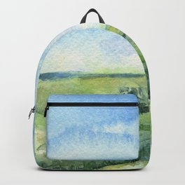 Sky and Grass Landscape Watercolor Backpack