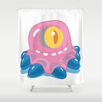 tom hiddleston Shower Curtains featuring Pinky Tom by Erick Sulaiman