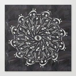 Musical mandala on chalkboard Canvas Print
