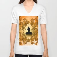 buddha V-neck T-shirts featuring Buddha  by nicky2342