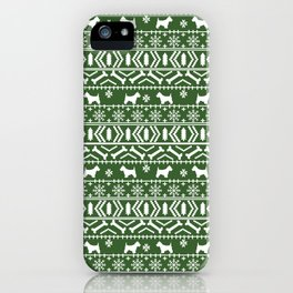 Westie fair isle west highland terrier christmas holiday gifts dog pattern green iPhone Case