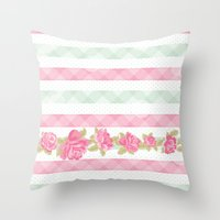 shabby chic Throw Pillows featuring Shabby Chic by camilcd