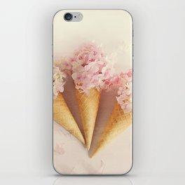 fresh flowers in ice cream cone iPhone Skin