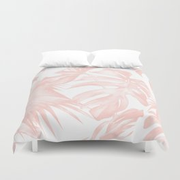 Tropical Leaves Pink and White Duvet Cover