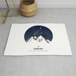 Astrology Capricorn Zodiac Horoscope Constellation Star Sign Watercolor Poster Wall Art Rug