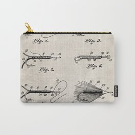 Fly Fishing Patent - Fisherman Art - Antique Carry-All Pouch