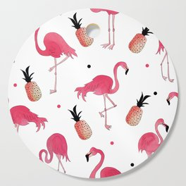Flamingo and Pineapple Tropical Pattern Cutting Board
