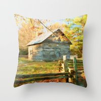 cabin Throw Pillows featuring Pucketts Cabin by ThePhotoGuyDarren