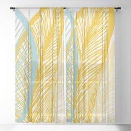 Banana Leaf Pattern Sheer Curtain