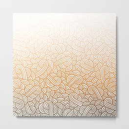 Gradient orange and white swirls doodles Metal Print
